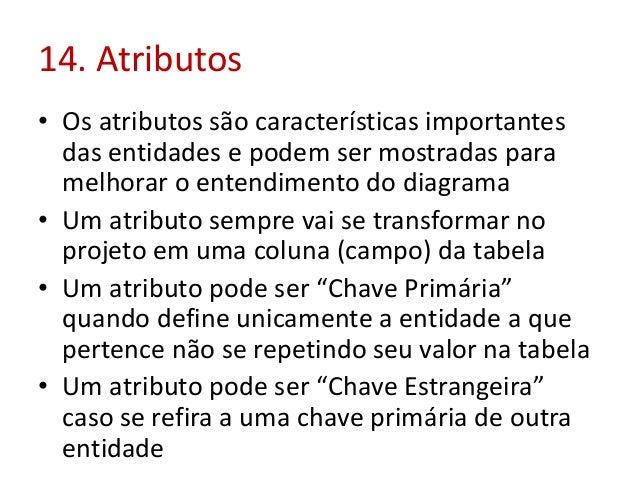 14. Atributos • Os atributos são características importantes das entidades e podem ser mostradas para melhorar o entendime...