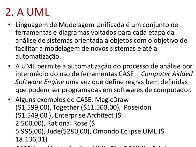 2. A UML • Linguagem de Modelagem Unificada é um conjunto de ferramentas e diagramas voltados para cada etapa da análise d...
