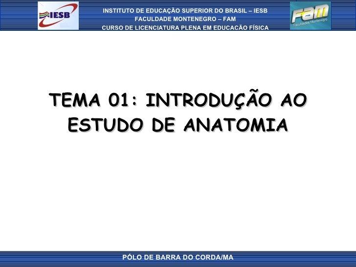TEMA 01: INTRODUÇÃO AO ESTUDO DE ANATOMIA PÓLO DE BARRA DO CORDA/MA