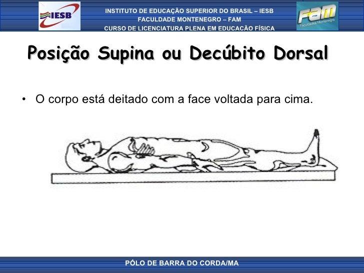 Posição Supina ou Decúbito Dorsal  <ul><li>O corpo está deitado com a face voltada para cima. </li></ul>PÓLO DE BARRA DO C...