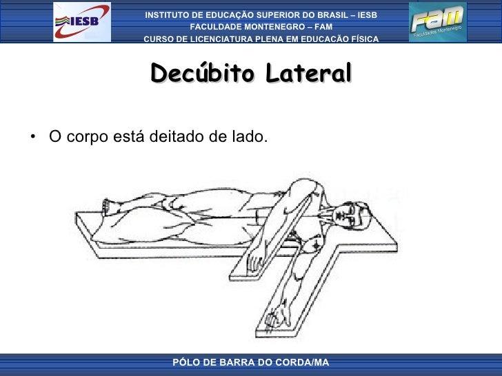 Decúbito Lateral <ul><li>O corpo está deitado de lado.  </li></ul>PÓLO DE BARRA DO CORDA/MA