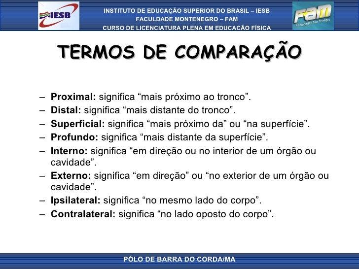 """TERMOS DE COMPARAÇÃO <ul><ul><li>Proximal:  significa """"mais próximo ao tronco"""". </li></ul></ul><ul><ul><li>Distal:  signif..."""