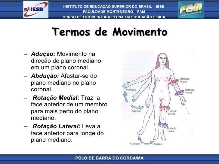 Termos de Movimento <ul><ul><li>Adução:  Movimento na direção do plano mediano em um plano coronal.  </li></ul></ul><ul><u...