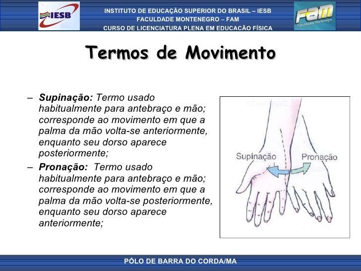 Termos de Movimento <ul><ul><li>Supinação:  Termo usado habitualmente para antebraço e mão; corresponde ao movimento em qu...