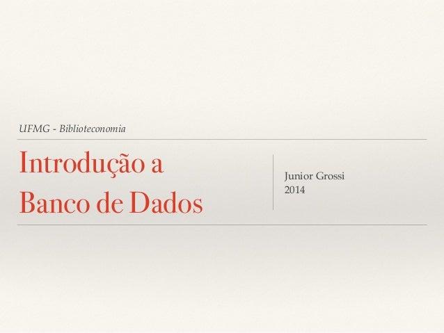 UFMG - Biblioteconomia  Introdução a  Banco de Dados  Junior Grossi!  2014