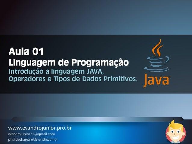 www.evandrojunior.pro.br evandrojunior21@gmail.com pt.slideshare.net/EvandroJunior Aula 01 Linguagem de Programação Introd...