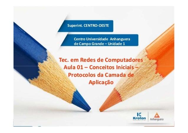 Centro Universidade Anhanguera de Campo Grande – Unidade 1 Superint. CENTRO-OESTE Tec. em Redes de Computadores Aula 01 – ...