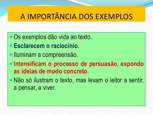  Apresentação do tema e do ponto de vista. Exemplos a, b, c (do passado, apresentados nasequência). Exemplo d (do prese...