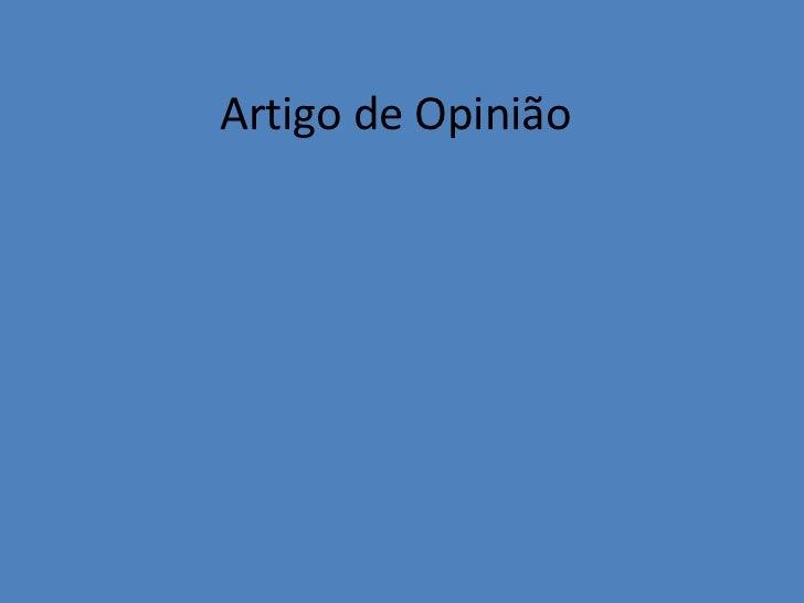 Artigo de Opinião<br />