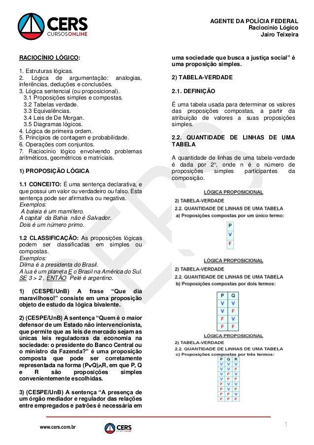 www.cers.com.br AGENTE DA POLÍCIA FEDERAL Raciocínio Lógico Jairo Teixeira 1 RACIOCÍNIO LÓGICO: 1. Estruturas lógicas. 2. ...