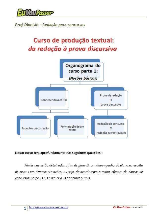 1 http://www.euvoupassar.com.br Eu Vou Passar – e você? Prof. Dionisio – Redação para concursos Nosso curso terá aprofunda...