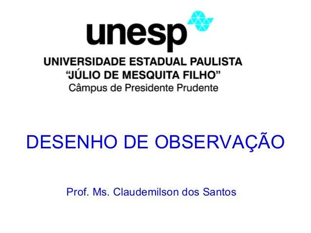 DESENHO DE OBSERVAÇÃO Prof. Ms. Claudemilson dos Santos