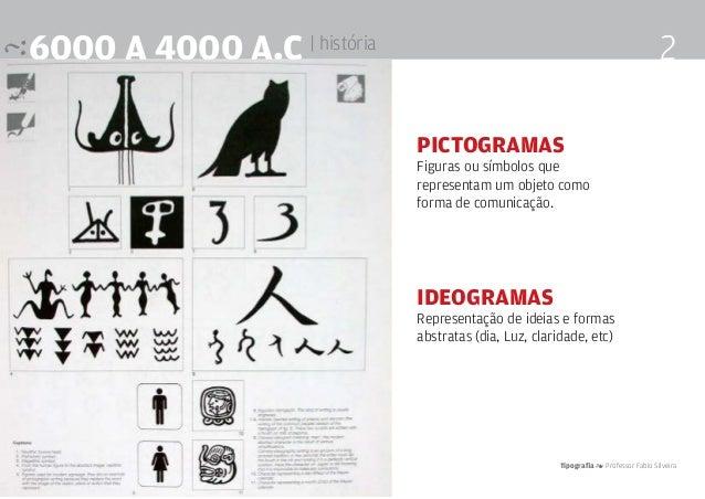 Tipografia 4 Professor Fabio Silveira 26000 a 4000 a.c | história pictogramas Figuras ou símbolos que representam um objet...