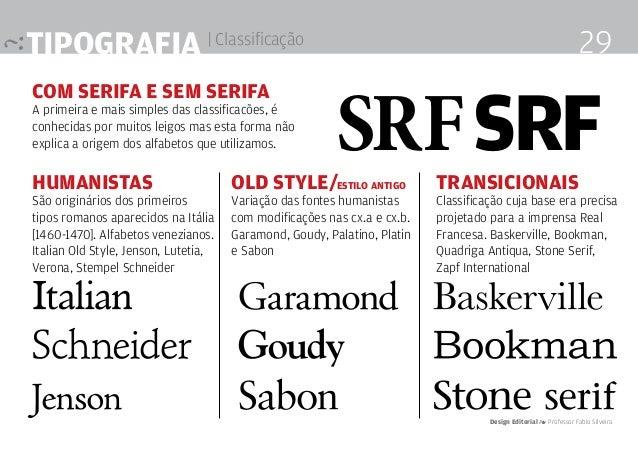 Tipografia | Classificação com serifa e sem serifa A primeira e mais simples das classificacões, é conhecidas por muitos l...