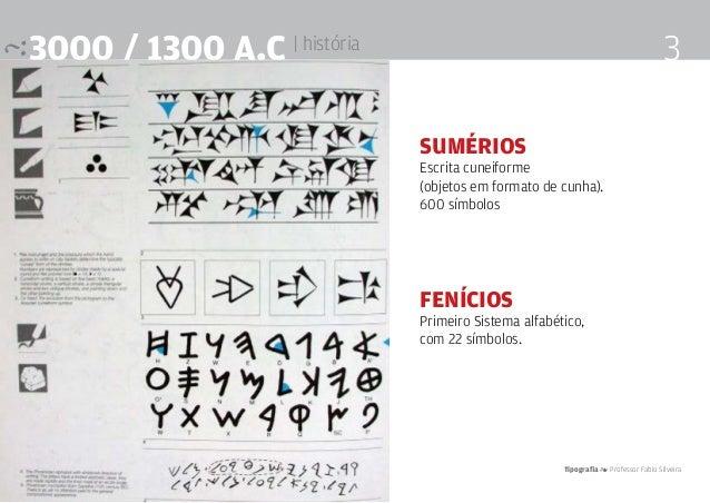 Tipografia 4 Professor Fabio Silveira 33000 / 1300 a.c | história Sumérios Escrita cuneiforme (objetos em formato de cunha...