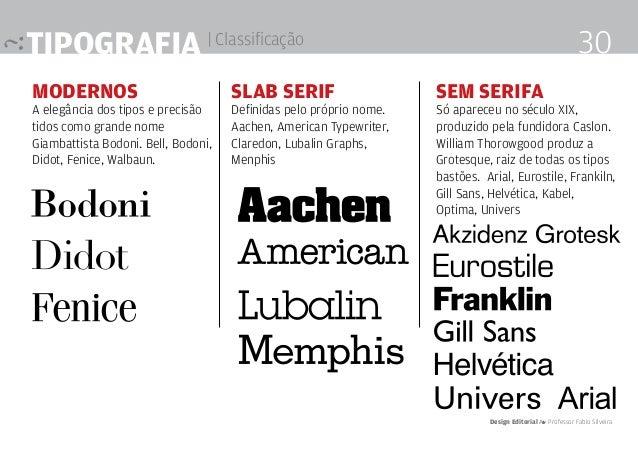 Tipografia | Classificação Modernos A elegância dos tipos e precisão tidos como grande nome Giambattista Bodoni. Bell, Bod...