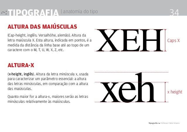 Tipografia 4 Professor Fabio Silveira 34Tipografia | anatomia do tipo altura das maiúsculas (Cap-height, inglês; Versalhöh...