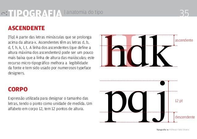 Tipografia 4 Professor Fabio Silveira 35Tipografia | anatomia do tipo ascendente [Tip] A parte das letras minúsculas que s...
