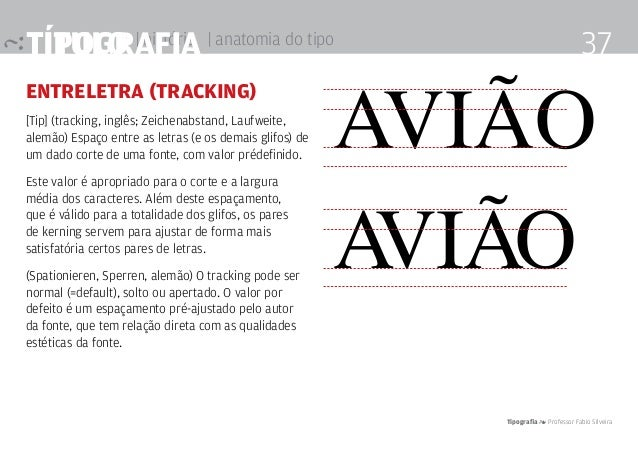 título | história Tipografia 4 Professor Fabio Silveira 37Tipografia | anatomia do tipo entreletra (tracking) [Tip] (track...