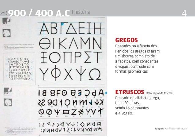 Tipografia 4 Professor Fabio Silveira 4900 / 400 a.c | história Gregos Baseados no alfabeto dos Fenícios, os gregos criara...