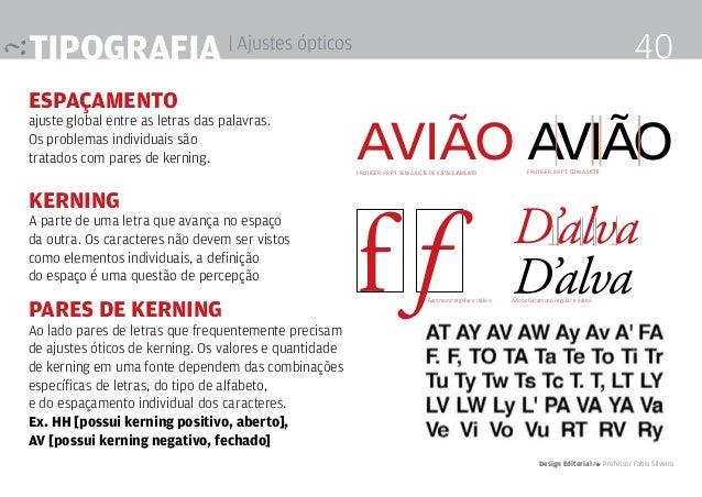 Tipografia | Ajustes ópticos ESPAÇAMENTO ajuste global entre as letras das palavras. Os problemas individuais são tratados...