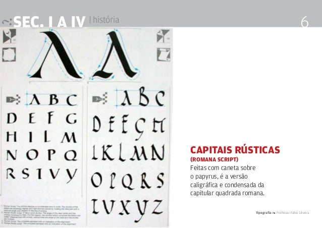 Tipografia 4 Professor Fabio Silveira 6SEc. I a IV | história Capitais rústicas (romana script) Feitas com caneta sobre o ...