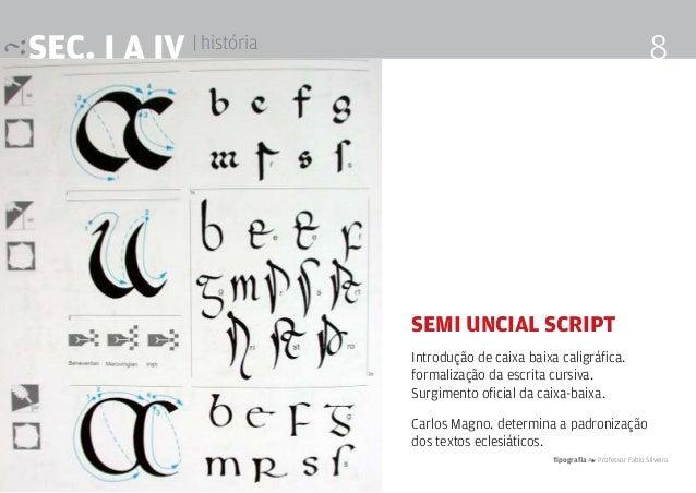 Tipografia 4 Professor Fabio Silveira 8SEc. I a IV | história Semi Uncial Script Introdução de caixa baixa caligráfica. fo...