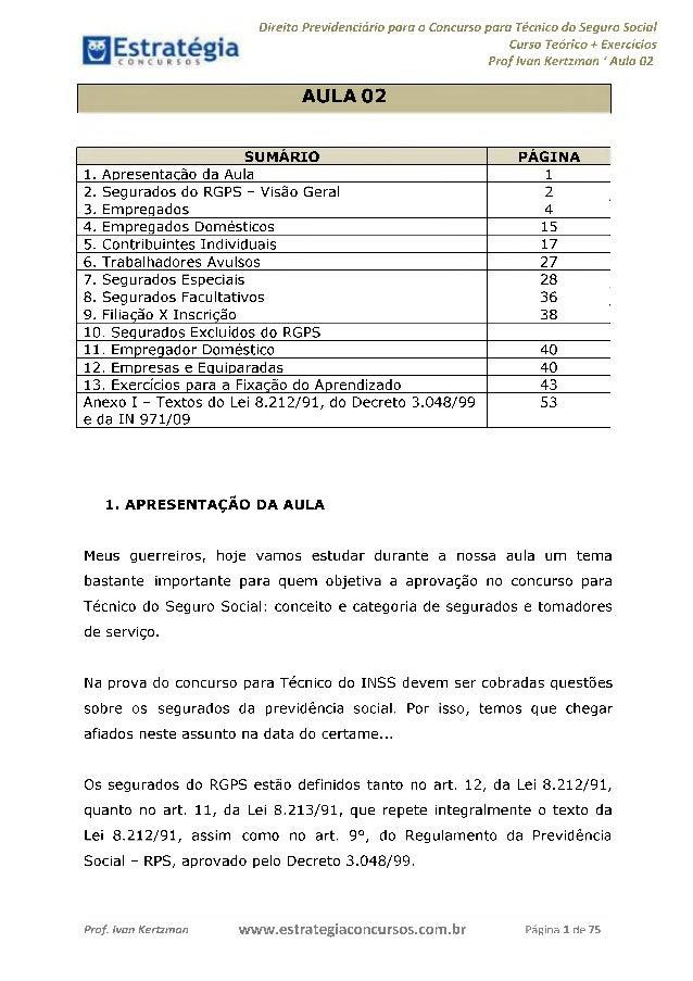 Direito Previdenciário para o Concurso para Técnico do Seguro Social Curso Teórico + Exercícios Prof Ivan Kertzman 'Aula 0...
