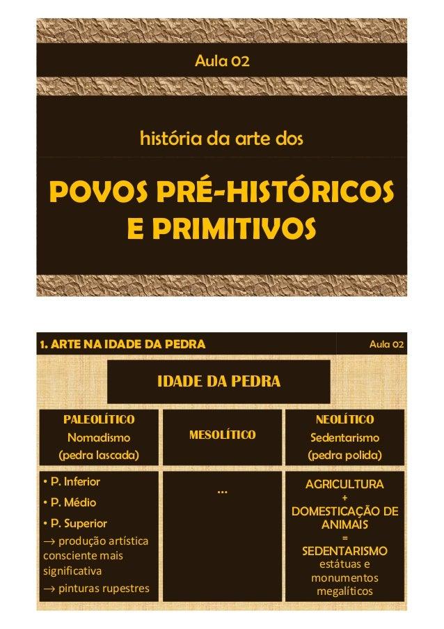 Aula 02  história da arte dos  POVOS PRÉ-HISTÓRICOS  E PRIMITIVOS  1. ARTE NA IDADE DA PEDRA Aula 02  PALEOLÍTICO  Nomadis...