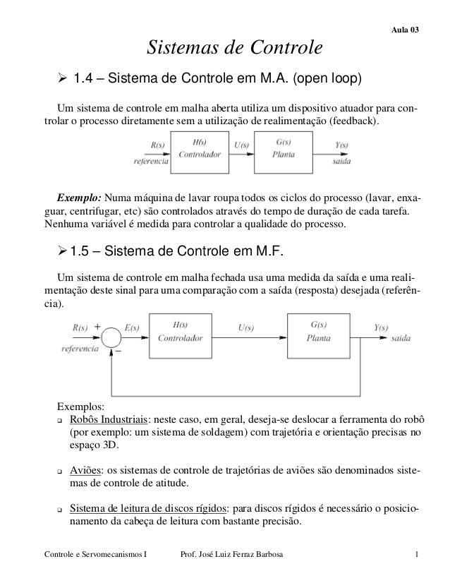 Aula 03 Controle e Servomecanismos I Prof. José Luiz Ferraz Barbosa 1 Sistemas de Controle 1.4 Sistema de Controle em M.A....
