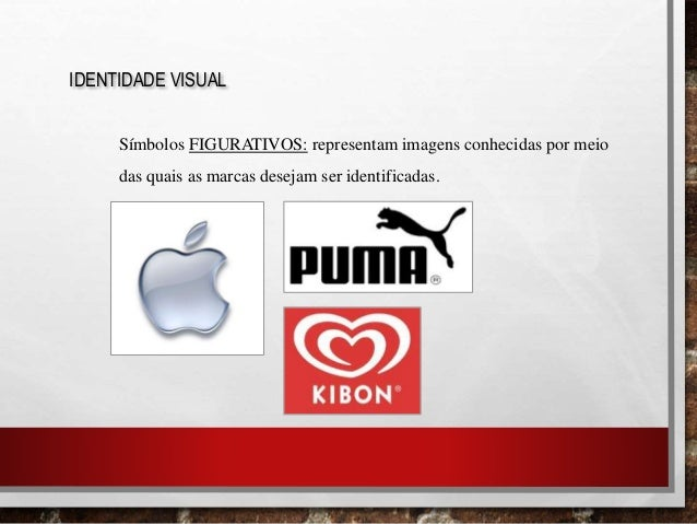 IDENTIDADE VISUAL Símbolos FIGURATIVOS: representam imagens conhecidas por meio das quais as marcas desejam ser identifica...