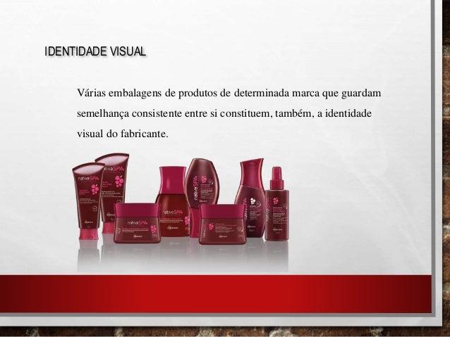 IDENTIDADE VISUAL Várias embalagens de produtos de determinada marca que guardam semelhança consistente entre si constitue...