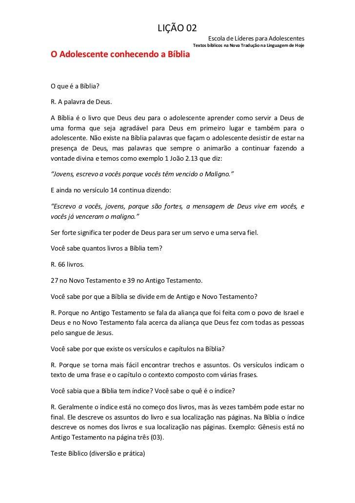 LIÇÃO 02                                                         Escola de Líderes para Adolescentes                      ...