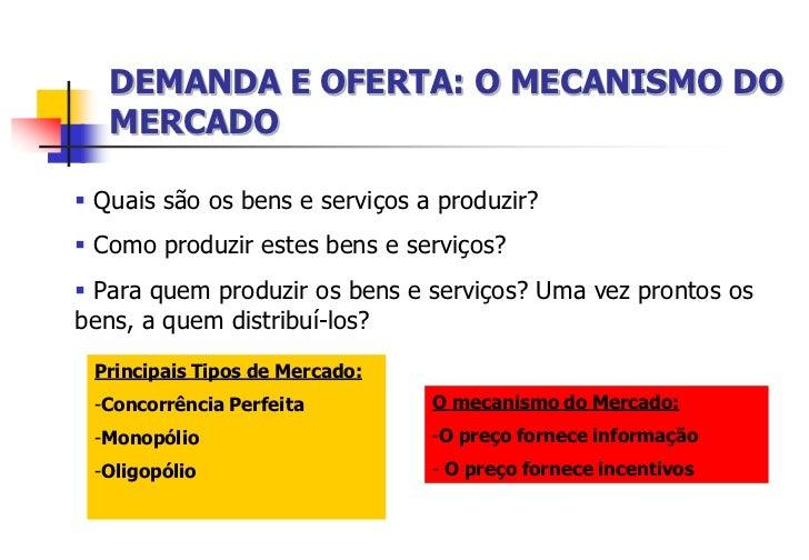 DEMANDA E OFERTA: O MECANISMO DO   MERCADO Quais são os bens e serviços a produzir? Como produzir estes bens e serviços?...