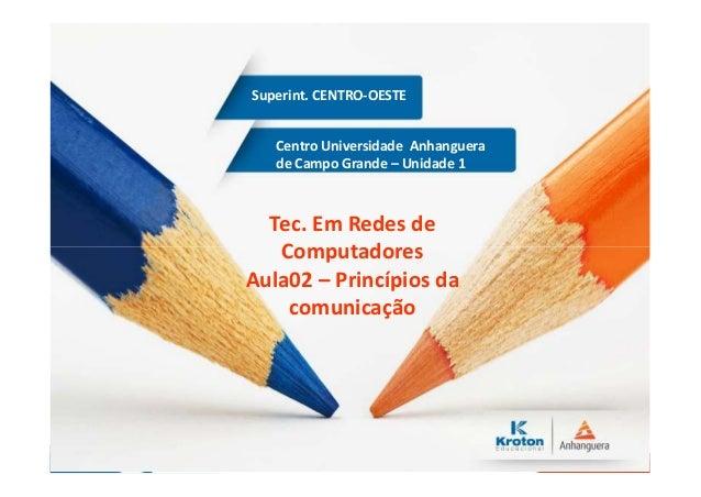 Centro Universidade Anhanguera de Campo Grande – Unidade 1 Superint. CENTRO-OESTE Tec. Em Redes de Computadores Aula02 – P...