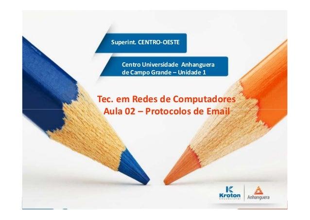 Centro Universidade Anhanguera de Campo Grande – Unidade 1 Superint. CENTRO-OESTE Tec. em Redes de Computadores Aula 02 – ...