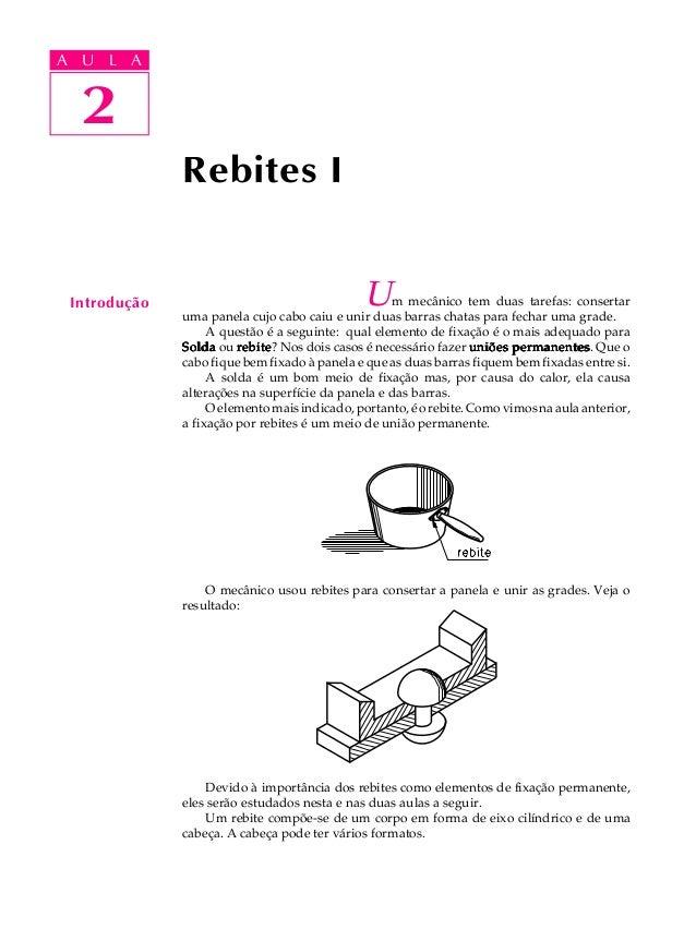 A UA U L A     L A     2  2              Rebites I Introdução                                    U   m mecânico tem duas t...