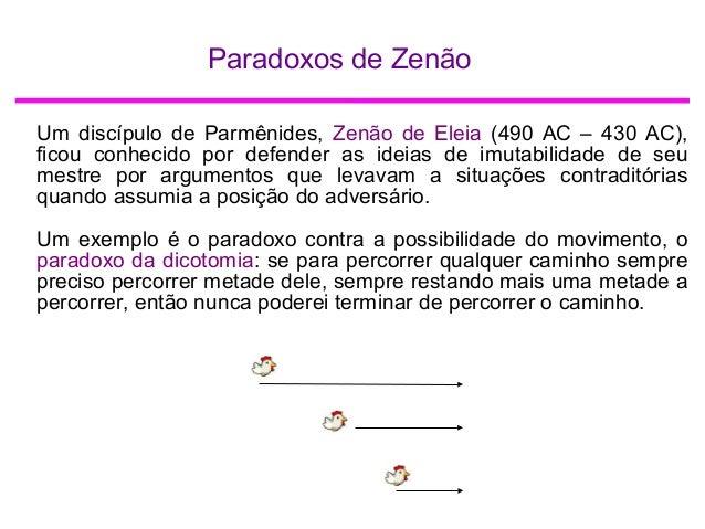 Paradoxos de Zenão Um discípulo de Parmênides, Zenão de Eleia (490 AC – 430 AC), ficou conhecido por defender as ideias de...