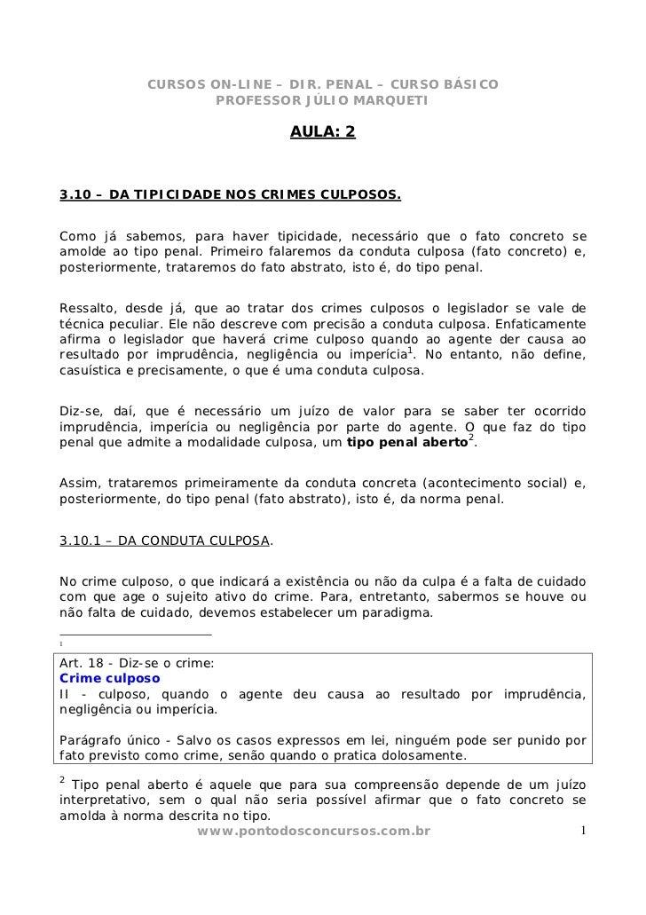 CURSOS ON-LINE – DIR. PENAL – CURSO BÁSICO                     PROFESSOR JÚLIO MARQUETI                                   ...