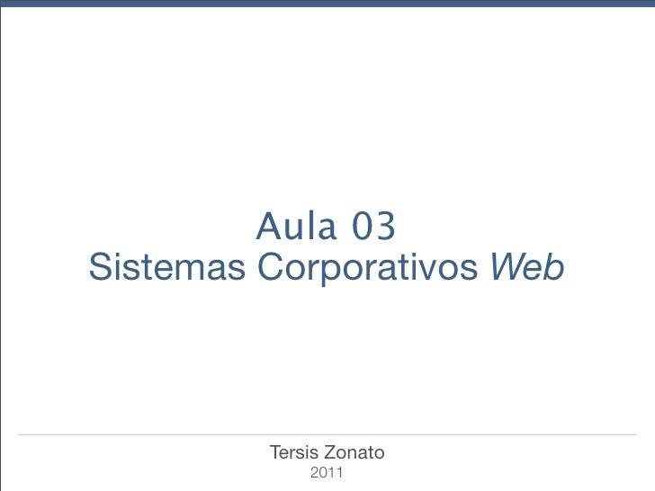 Aula 03Sistemas Corporativos Web         Tersis Zonato             2011