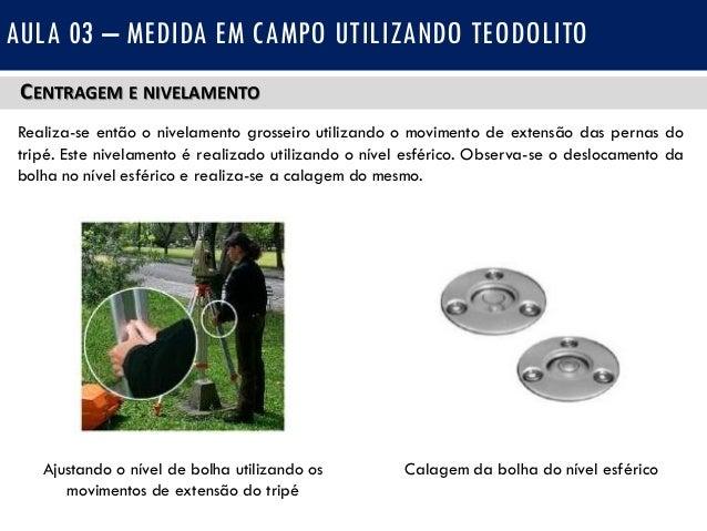 947acf4f9d1 AULA 03 – MEDIDA EM CAMPO UTILIZANDO TEODOLITO Nível esférico Nível  tubular  18. CENTRAGEM E NIVELAMENTO Realiza-se ...