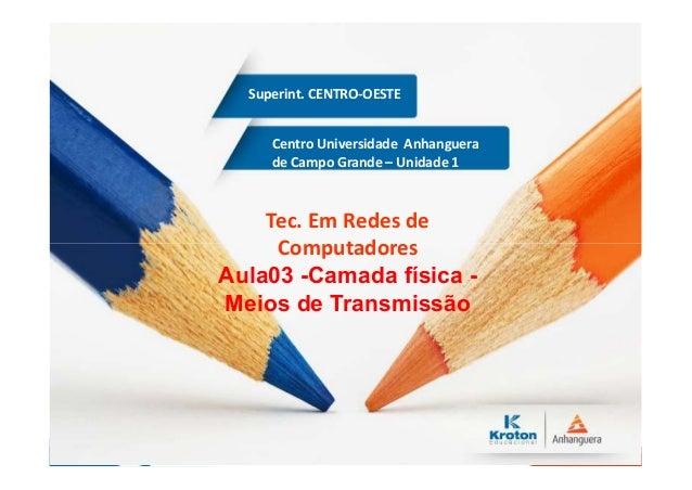 Centro Universidade Anhanguera de Campo Grande – Unidade 1 Superint. CENTRO-OESTE Tec. Em Redes de Computadores Aula03 -Ca...