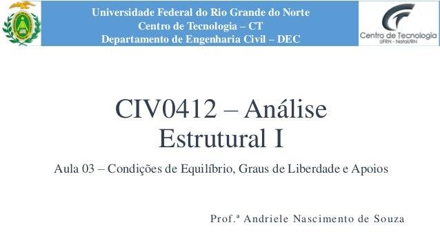 CIV0412 – Análise Estrutural I Aula 03 – Condições de Equilíbrio, Graus de Liberdade e Apoios Universidade Federal do Rio ...
