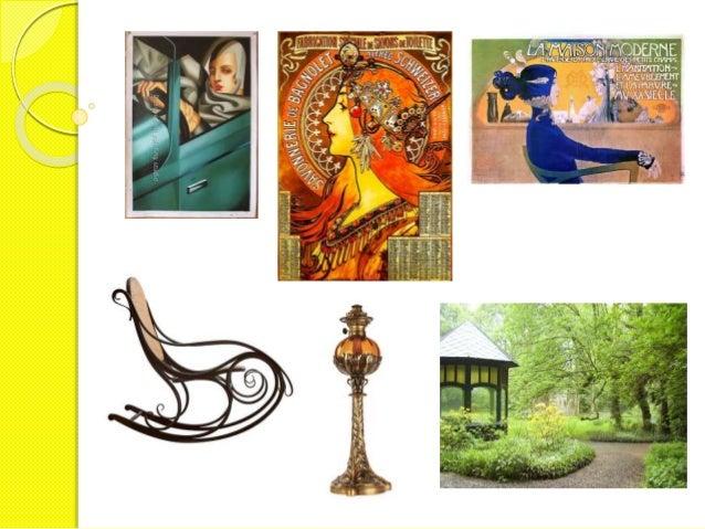 O art nouveau tem certas características constantes:  a. temática naturalista (flores e animais);  b. motivos derivados da...