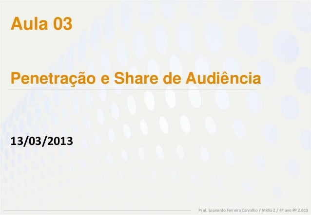 Aula 03Penetração e Share de Audiência13/03/2013                       Prof. Leonardo Ferreira Carvalho / Mídia 2 / 4º ano...