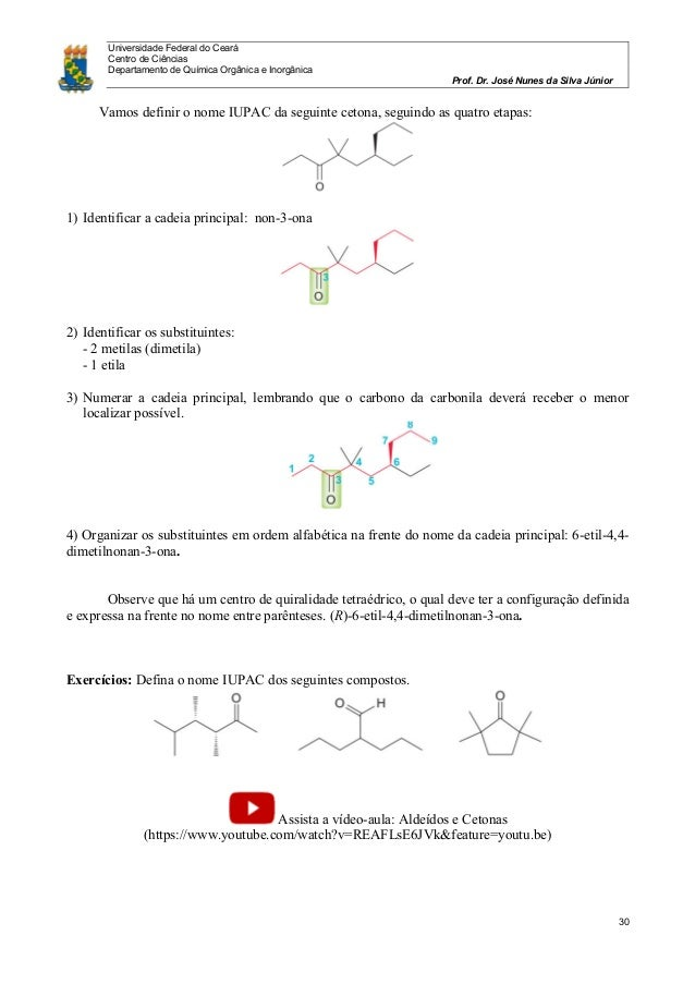 Universidade Federal do Ceará Centro de Ciências Departamento de Química Orgânica e Inorgânica Prof. Dr. José Nunes da Sil...