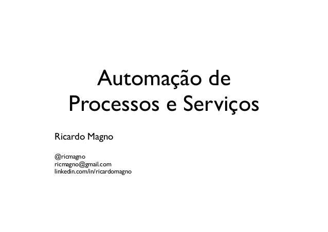 Automação de     Processos e ServiçosRicardo Magno@ricmagnoricmagno@gmail.comlinkedin.com/in/ricardomagno