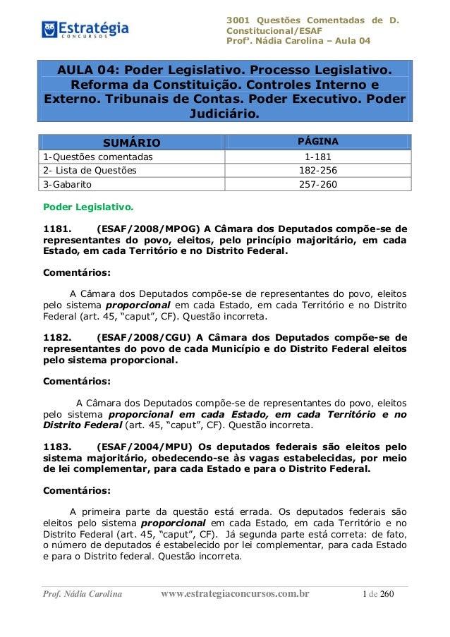 3001 Questões Comentadas de D. Constitucional/ESAF Profa . Nádia Carolina – Aula 04 Prof. Nádia Carolina www.estrategiacon...