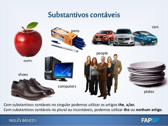 INGLÊS BÁSICO I Com substantivos contáveis no singular podemos utilizar os artigos the, a/an. Com substantivos contáveis n...