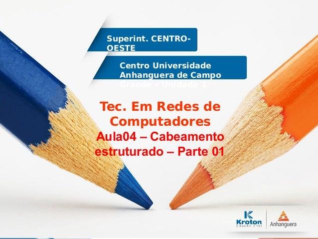 Centro Universidade Anhanguera de Campo Grande – Unidade 1 Superint. CENTRO- OESTE Tec. Em Redes de Computadores Aula04 – ...